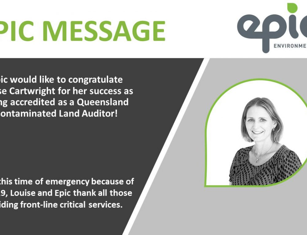 Congratulations Louise Cartwright for your success as being accredited as a Queensland Contaminated Land Auditor!