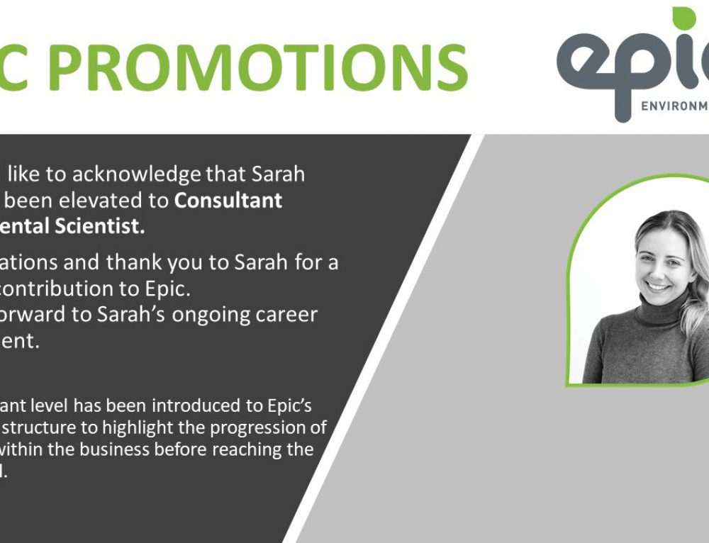 Congratulations Sarah Beitel on your promotion to Consultant Environmental Scientist!